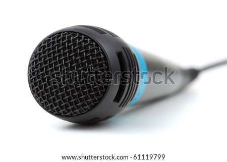 Microphone with cable. Small DOF, isolated on white - stock photo