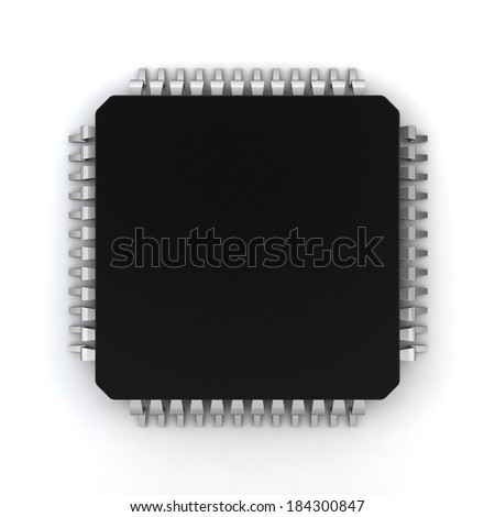 Microprocessor. 3d illustration on white background  - stock photo