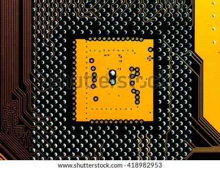 microprocessor socket on motherboard - stock photo