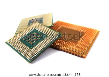 microprocessors isolated on the white background - stock photo