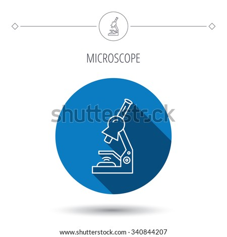 Microscope icon. Medical laboratory equipment sign. Pathology or scientific symbol. Blue flat circle button. Linear icon with shadow.  - stock photo