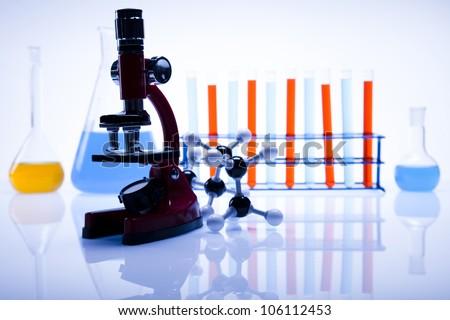 Microscope, Laboratory glass - stock photo
