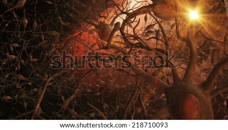 Microscopic view of 3D neurones within the brain, showing semi-transparent network of nerves, interneurons, axons, axon terminals, dendrites, synaptic clefts, nucleus, and cell body with background. - stock photo