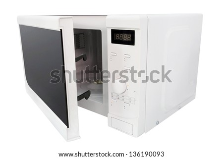 microwave isolated under the white background - stock photo