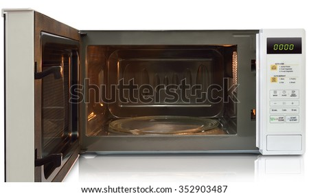 microwave on white background - stock photo