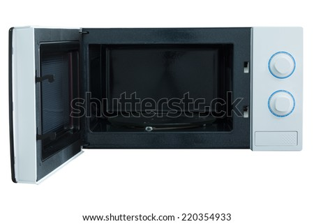 Microwave oven isolated white background photo - stock photo