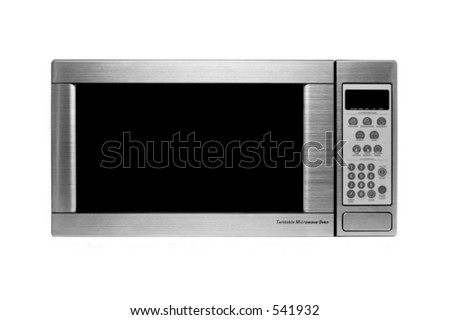 microwave oven oven shot over white, modern stainless steel design - stock photo