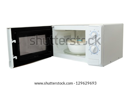 microwave oven with bowl isolated - stock photo
