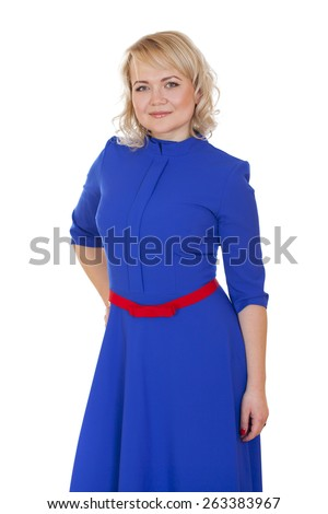 Mid adult cheerful woman portrait in blue dress, attractive caucasian middle 40 years old woman over white - stock photo