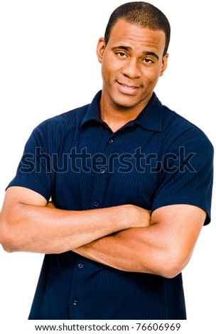 Mid adult man posing and smiling isolated over white - stock photo