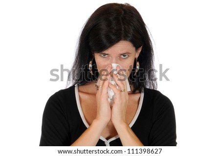 Mid adult woman has caught a flu - stock photo