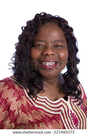 Mid Age African American Woman with Traditional Costume Closeup Happy Portrait Isolated on White Background - stock photo