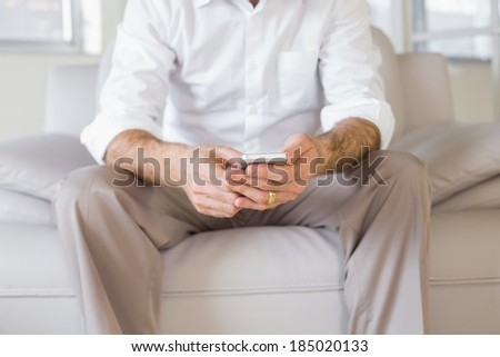 Mid section of a well dressed young man text messaging on sofa in the house - stock photo