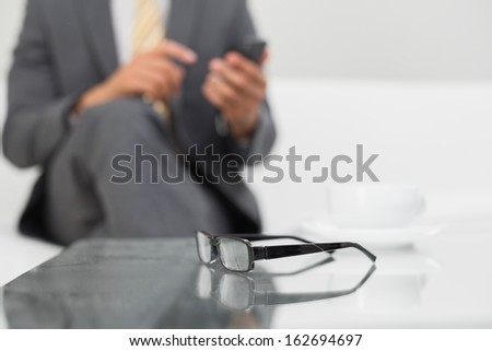 Mid section of an elegant young businessman text messaging on sofa at home - stock photo