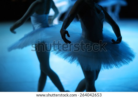 Mid section of ballerinas on the stage - stock photo