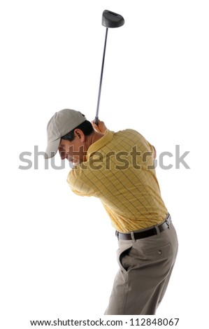 Middle age golfer swinging a golf club isolated on a white background - stock photo