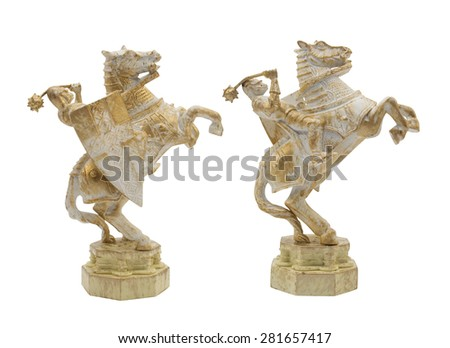 Middle age knight with horse toy. Isolated middle age, ancient knight horseman toy standing on white background profile view. - stock photo