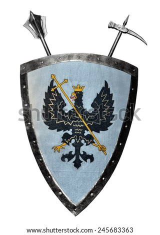 Middle age metallic shield - stock photo