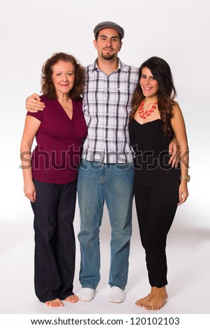 Middle age mother with her son and daughter on a white background. - stock photo