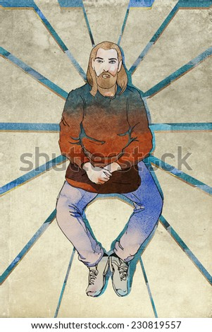 middle age sitting hipster with beard and bag into his hand, modern prophet symbol, original illustration mixed media - stock photo