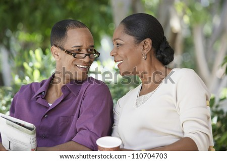 Middle aged African American couple spending time together - stock photo
