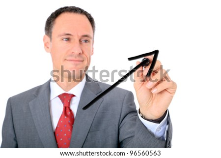 Middle aged businessman drawing raising chart. All on white background. - stock photo
