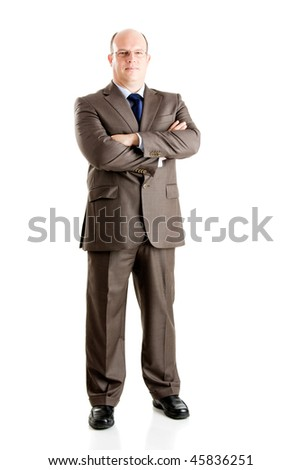 Middle-aged businessman portrait isolated on white background - stock photo