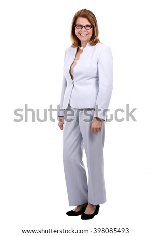 middle aged caucasian woman wearing business on white background - stock photo
