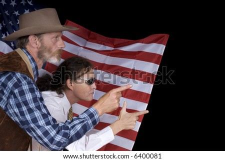 Middle aged country and western cowboy with traditional costume and modern american tycoon man in front of american flag. - stock photo