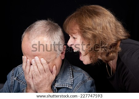 Middle Aged Couple Argue - stock photo