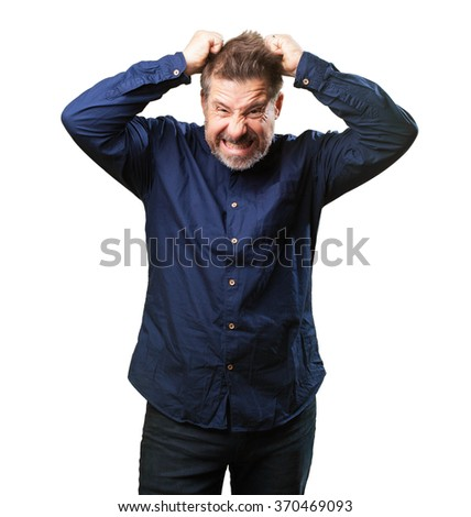 middle aged man angry - stock photo