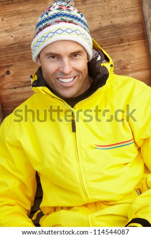 Middle Aged Man Dressed For Cold Weather - stock photo