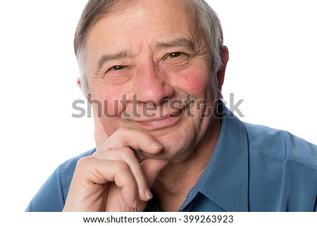Middle Aged Man Isolated on White - stock photo