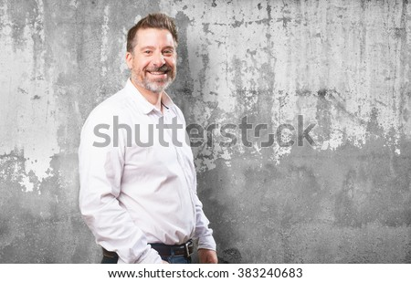 middle aged man smiling - stock photo