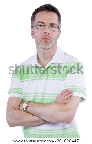 middle aged man with displeased expression on white background - stock photo