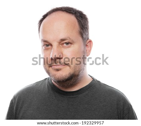 middle aged man with stubble - stock photo