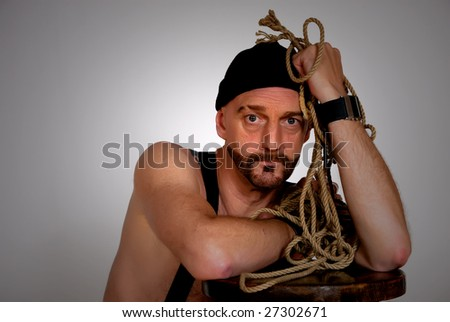 Middle aged man with troubled expression on face. - stock photo