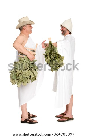 Middle-aged men with oak twigs for the Russian baths. From a series of Russian bath. - stock photo