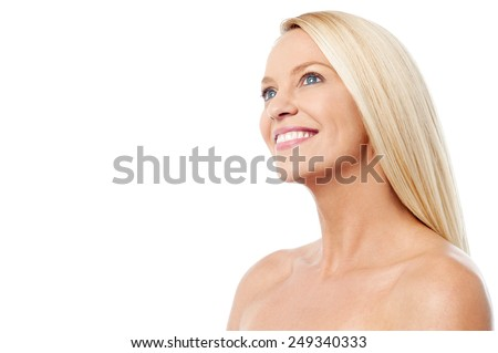 Middle aged woman with clean healthy skin - stock photo