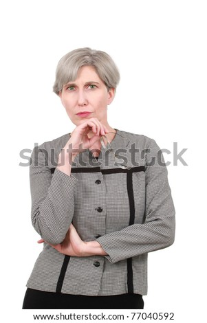 Middle aged woman with glasses - stock photo