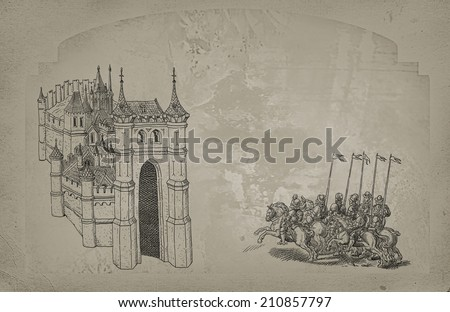 Middle Ages theme illustration - stock photo