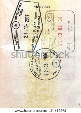 Middle East Allenby Bridge border control visa stamps - stock photo