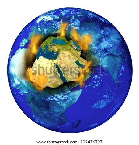 Middle East conflict with the planet earth burning with flames as a crisis concept of political crisis in countries as Syria Israel Iran Egypt Iraq and Libya. - stock photo