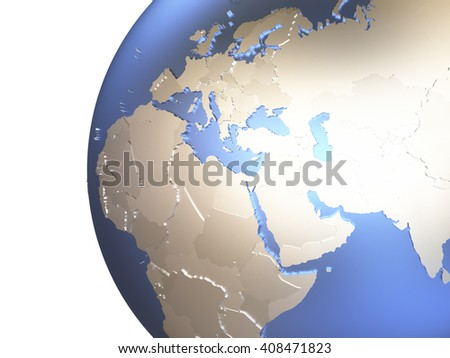 Middle East region on metallic model of planet Earth with embossed continents and visible country borders. 3D rendering. - stock photo