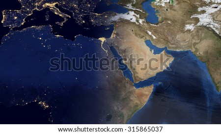 Middle Eastern Morning Space View (Elements of this image furnished by NASA) - stock photo