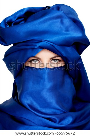 middle eastern woman with veil - stock photo