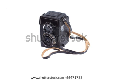 Middle-format camera isolated on white - stock photo