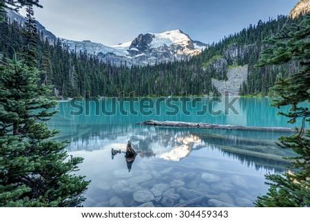 Middle Joffre Lake morning reflection - stock photo