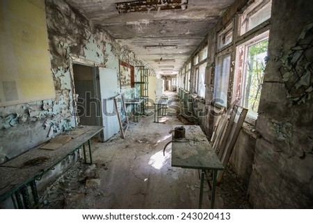 Middle School No. 3 in Pripyat ghost town, Chernobyl Nuclear Power Plant Zone of Alienation, Ukraine - stock photo