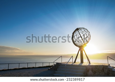 Midnight sun at the North Cape/ Nordkapp, Norway - stock photo